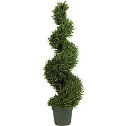 Indoor/ Outdoor Silk Rosemary Spiral Tree