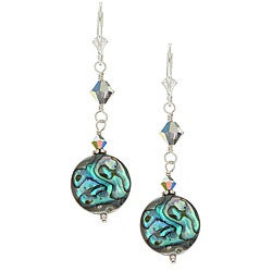 Charming Life Sterling Silver Paua Abalone Shell Round Earrings