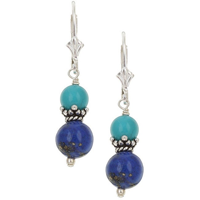Charming Life Sterling Silver Lapis/ Turquoise Drop Earrings