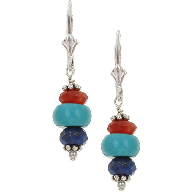 Charming Life Silver Turquoise/ Carnelian/ Lapis Earrings