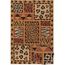 Hand-made Mandara Flora Collection Novelty Rug (5' x 7'6)