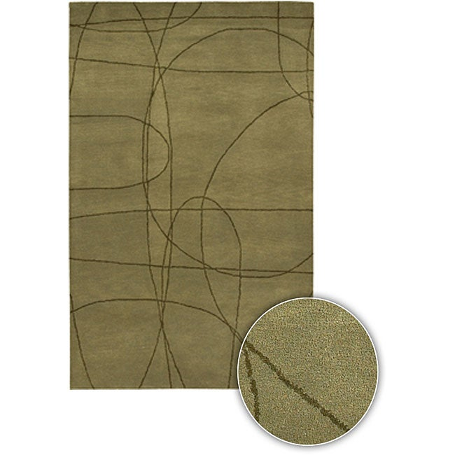 "Hand-tufted Contemporary Mandara Collection Green Rug (5' x 7'6"")"