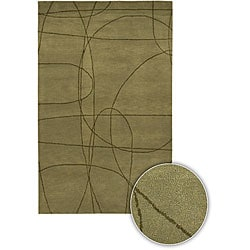 "Hand-tufted Contemporary Mandara Collection Green Rug (5' x 7'6"")"