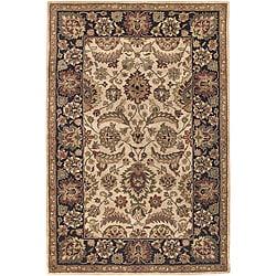 Floral Hand-Tufted Mandara Beige Wool Rug (5' x 7'6