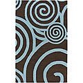 Hand-tufted Contemporary Mandara Area Rug (5' x 7'6)