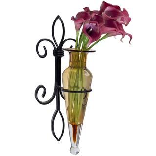 Amber Amphora Vase on Fleur de Lis Sconce