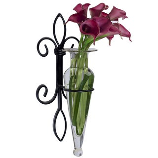 Clear Amphora Vase on Fleur de Lis Sconce