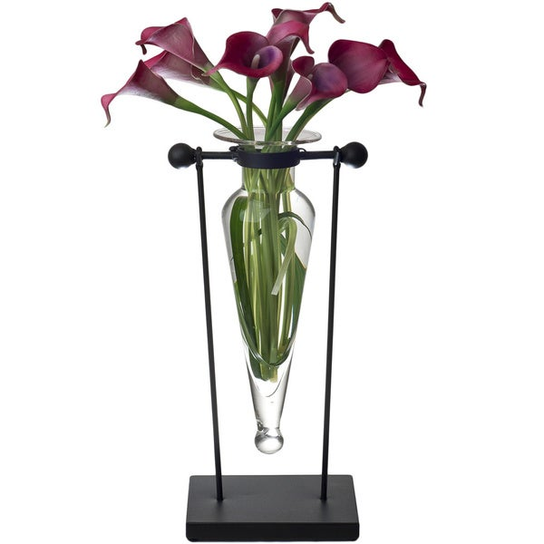 Clear Amphora Vase on Stand