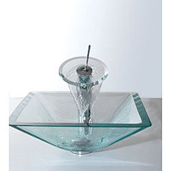 Kraus Square Clear Aquamarine Glass Vessel Sink and Waterfall Faucet