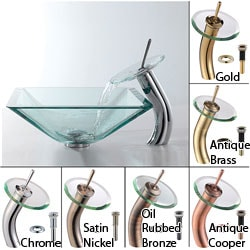 Kraus Aquamarine Glass Vessel Sink and Waterfall Faucet