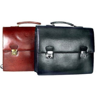 Minalto Flap-closure Leather Laptop Briefcase with Metal Locks