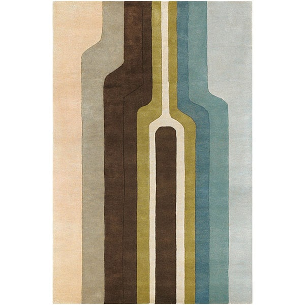 Artist's Loom Hand-tufted Contemporary Geometric Wool Rug (5'x7'6)