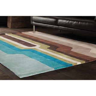 Abstract Geometric-Pattern Hand-Tufted Rojan Wool Rug (7'9