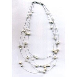 Floating Magnetic Tuchi Hematite Pearl Necklace
