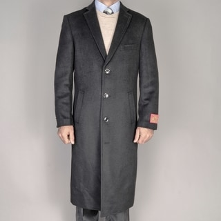 Mantoni Red Label Wool and Cashmere Black Overcoat
