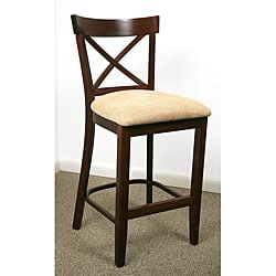 Walnut Finish X-back Microfiber Seat Counter Stool