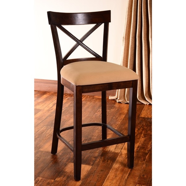 Walnut Finish X Back Microfiber Seat Counter Stool