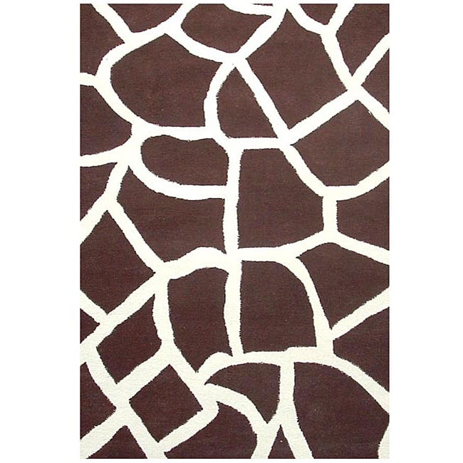 Hand-tufted Giraffe Wool Rug (5' x 8')