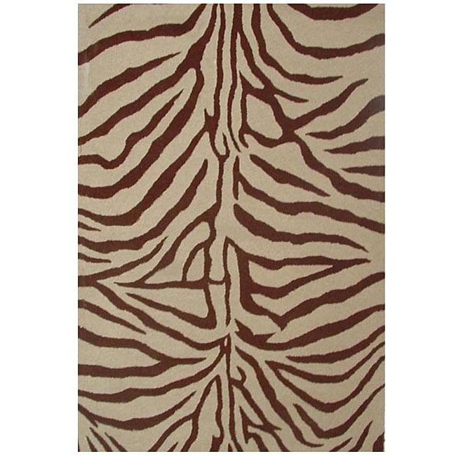 Acura Rugs Animal Hide White Black Zebra Area Rug: Hand-tufted Zebra Brown Wool Rug (5' X 8')