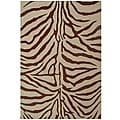 Hand-tufted Zebra Brown Wool Rug (5' x 8')