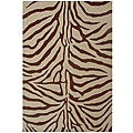 Hand-tufted Zebra Brown Wool Rug (5' x 8')