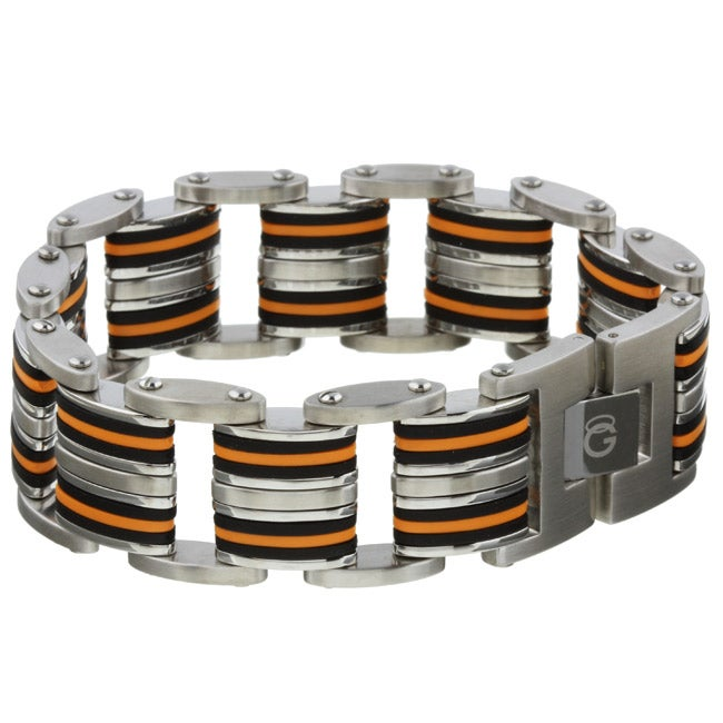 Stainless Steel and Rubber Orange/Black Bracelet
