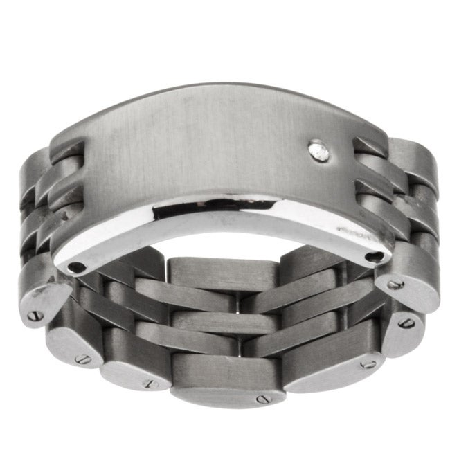 Stainless Steel and Diamond Bracelet Link Ring