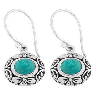 Silver Turquoise Cawi Motif Earrings (Indonesia)