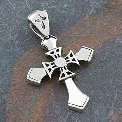 Sterling Silver 'Motif' Cross Pendant (Indonesia)