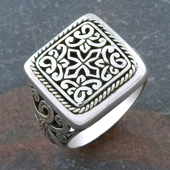 Sterling Silver 'Cawi Motif' Square Ring (Indonesia)