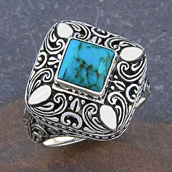 Sterling Silver Cawi Motif Turquoise Ring (Indonesia)