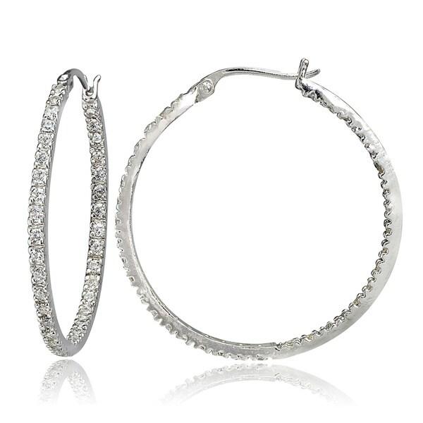 Icz Stonez Sterling Silver CZ Hoop Earrings