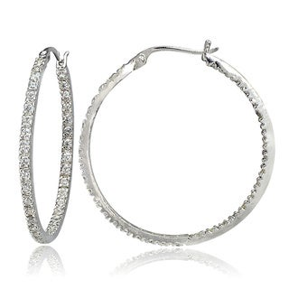 Icz Stonez Sterling Silver CZ Hoop Earrings