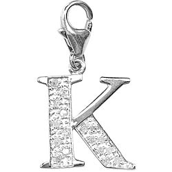 14k White Gold 1/10ct TDW Diamond Letter 'K' Charm