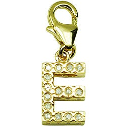14k Yellow Gold 1/10ct TDW Round-cut Diamond Letter 'E' Charm (H-I/J, I2)