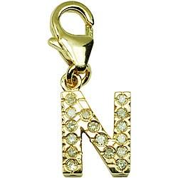 14k Yellow Gold 1/10ct TDW Round-cut Diamond Letter 'N' Charm (H-I/J, I2)