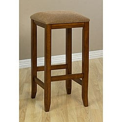 Upholstered 29-Inch Mission-Style Oak Barstools (Set of 2)