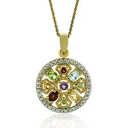 Glitzy Rocks 18k Gold Overlay Gemstone Medallion Necklace