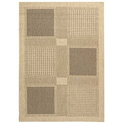 Indoor/ Outdoor Lakeview Sand/ Black Rug (5'3 x 7'7 )