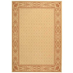 Indoor/ Outdoor Summer Natural/ Terracotta Rug (6'7 x 9'6)