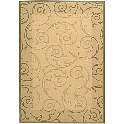 Safavieh Indoor/ Outdoor Oasis Natural/ Olive Rug (6'7 x 9'6)