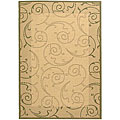 Indoor/ Outdoor Oasis Natural/ Olive Rug (6'7 x 9'6)