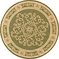 Safavieh Indoor/ Outdoor Sunny Olive/ Natural Rug (6'7 Round)