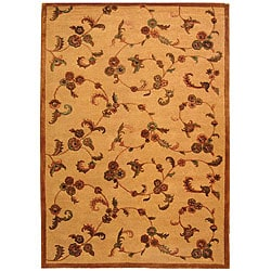 Handmade Paradise Gold New Zealand Wool Rug (5' x 8')
