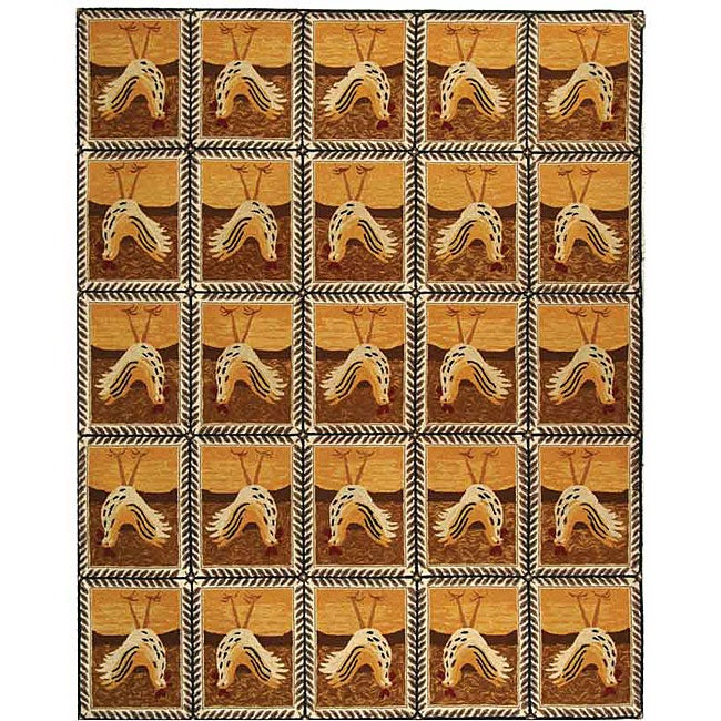 Safavieh Hand-hooked Country Hens Gold Wool Rug (8'9 x 11'9)