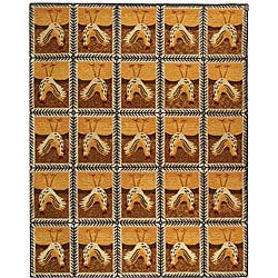 Hand-hooked Country Hens Gold Wool Rug (8'9 x 11'9)