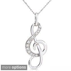 Annello 14k Gold 1/6ct TDW Diamond Musical Note Necklace