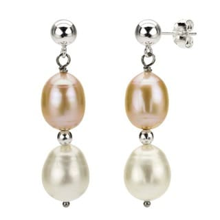 DaVonna Silver Pink and White FW Pearl Hangy Earrings (7-8 mm)