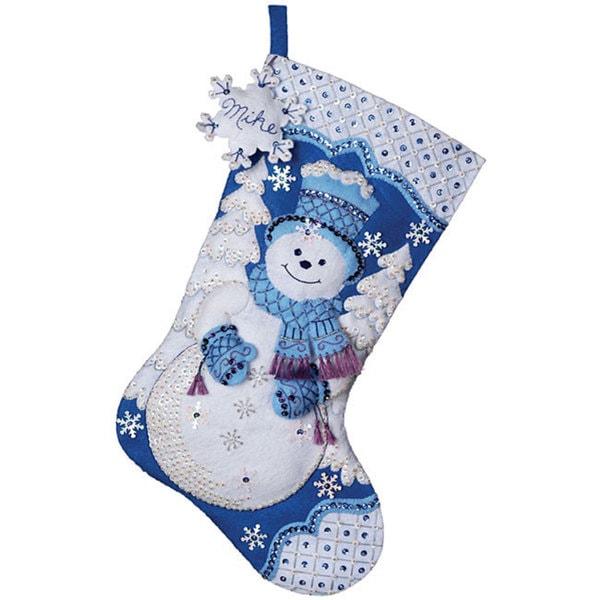 'Snowflake Snowman' Felt Stocking Applique Kit