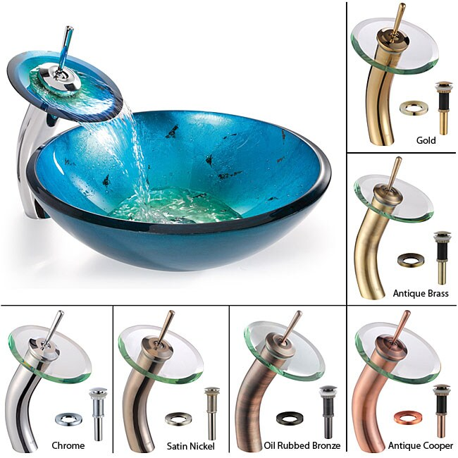 Kraus Galaxy Blue Irruption Glass Vessel Sink and Waterfall Faucet